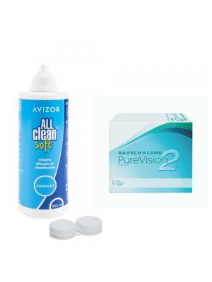 Purevision 2HD 3+3 tk ja All Clean Soft 350 ml koos konteineriga